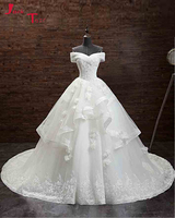Jark Tozr Custom Made Boat Neck Lace Up Appliques Beading Crystal Tulle Shawl Chapel Train Gorgeous