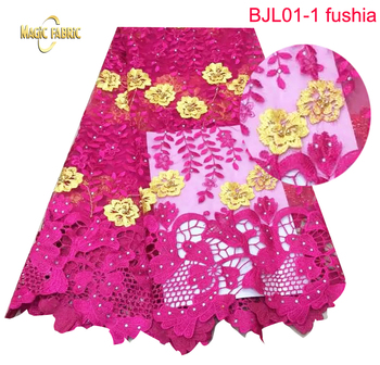 African French Lace Fabric High Quality Nigeria French Net Lace 2017 With Stones    BJL01
