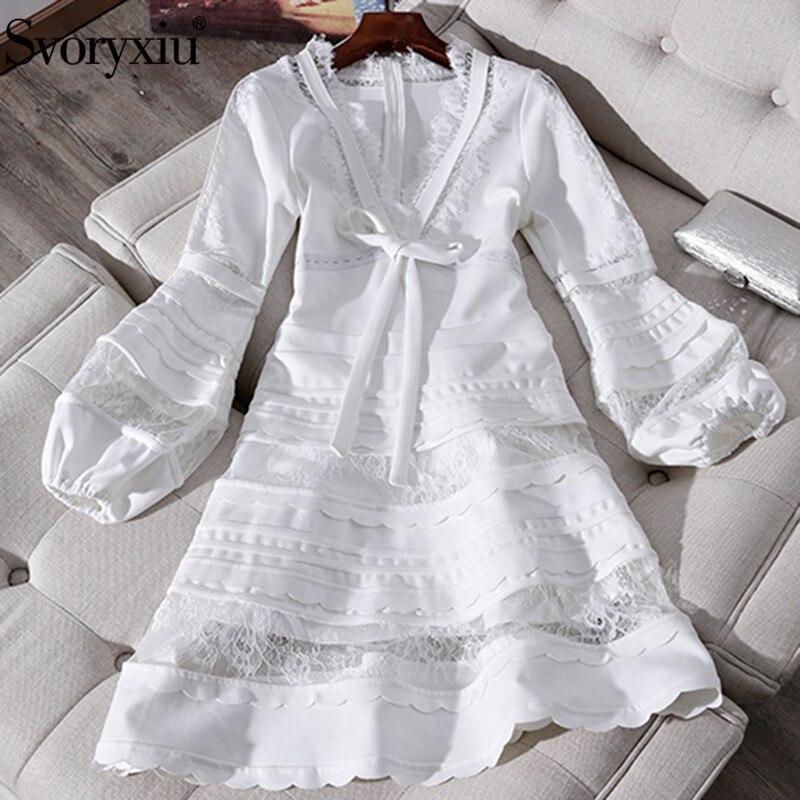 Svoryxiu Designer Summer Sexy Deep V Neck White Dress Women s Elegant Lantern Sleeve Patchwork Tiered