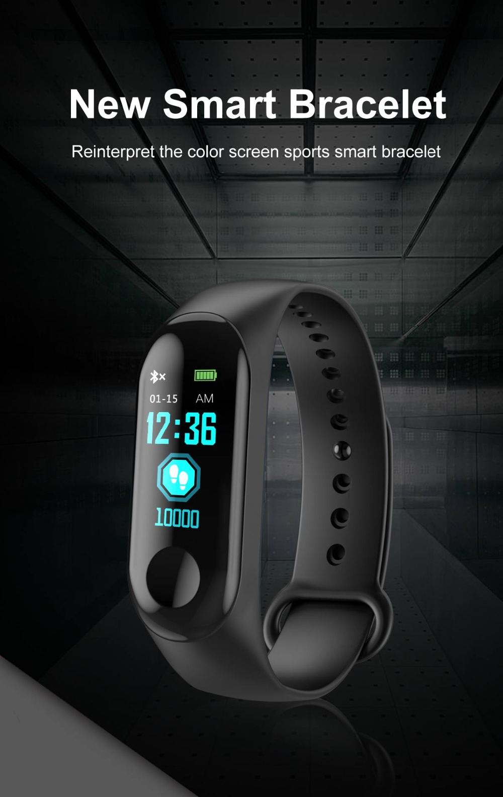 Torntisc W3 Fitness Bracelet Color-screen IP68 Waterproof blood pressure Oxygen Monitor sport Heart Rate Smart band pk mi band 3 (1)