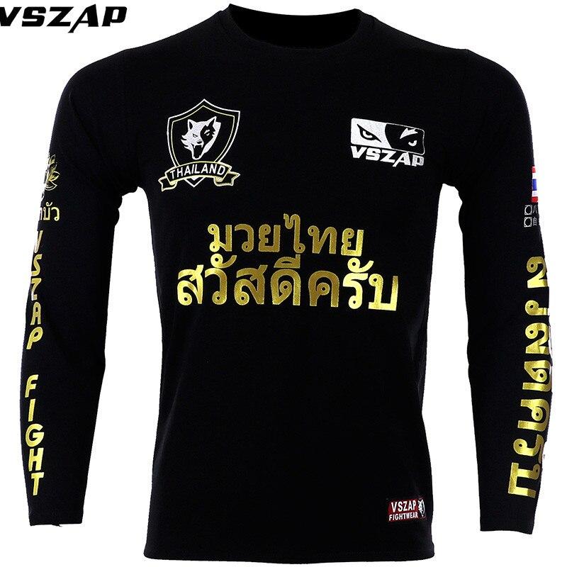 VSZAP MMA Cotton Combat Long Sleeve Pro Fistfight Muay Thai Boxing Jersey Gym T Shirt Men Fighting Rashguard