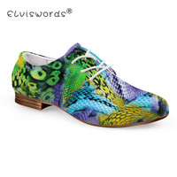 ELVISWORD 3D Snakeskin Printing Women Flat Shoes Ladies Round Toe Unique Leather Shoes for Females Comfortable Party Footwear