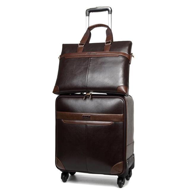 7a4574d7f7524 Unisex PU Leder Spinner Reisegepäck mit Handtasche Set Männer Business  Koffer Set 16 17