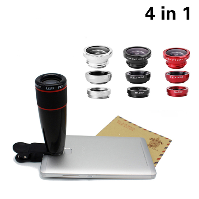 4in1 12x Telephoto Lens Zoom Telescopic Optical Lens Macro Wide angle Lens Fish Eye Lens With Clip For iPhone Samsung HTC JT51