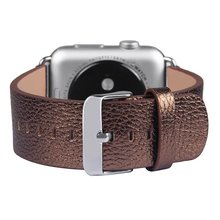 42mm For Apple Watch Genuine Leather watch Strap Replacement Wrist Band With Adapter Clasp for Apple Smart Watch Bright Brown
