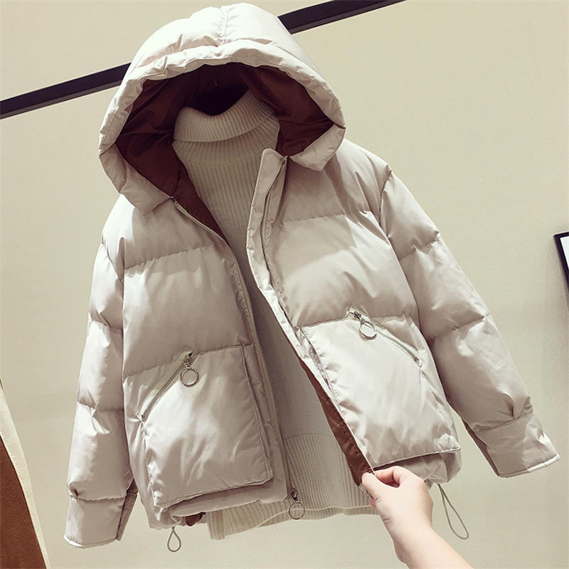 Winter Jacket Women   Parka   Long Sleeve Hooded Winter Coat Loose Hooded Oversized Casaco Feminino Casual Warm Jacket Women Q1720