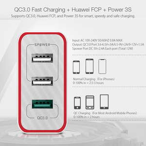 Image 3 - BlitzWolf BW PL2 30W QC3.0 FCP 3 port evrensel USB şarj seyahat duvar şarj ab adaptörü iPhone için xiaomi için