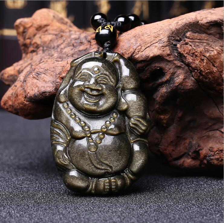 Koraba Fine Jewelry Chinese Natural Gold Obsidian Hand-Carved Blessing Maitreya Buddha Pendant Free ShippingKoraba Fine Jewelry Chinese Natural Gold Obsidian Hand-Carved Blessing Maitreya Buddha Pendant Free Shipping