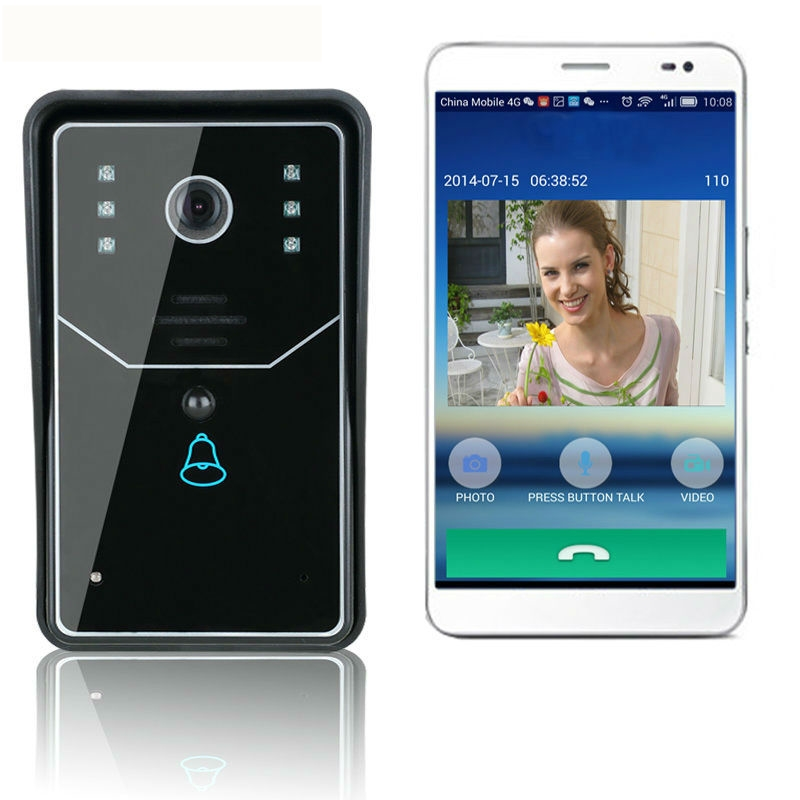APP connection WiFi Doorbell Door Bell Wireless IP Intercom Interfone Smart Video Phone Unlock Alarm By Android ISO Ipad APP 2015 free shipping wifi video door phone door bell intercom systems app can be run in android and ios devices