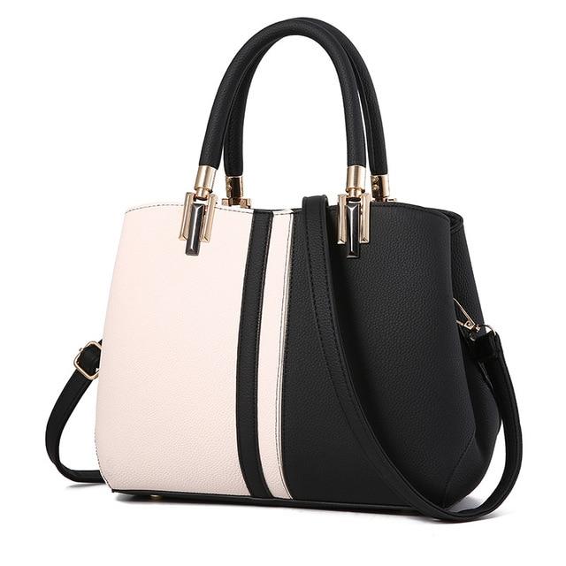cd7ff864682 New Women Handbag Black and White Stripe Tote Bag Female Shoulder Bags High  Quality PU Leather