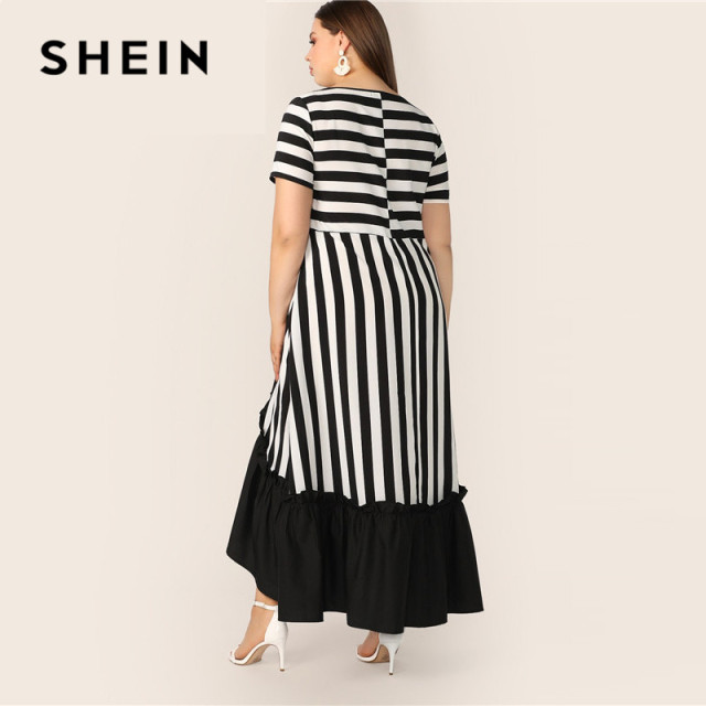 SHEIN Plus Size Black And White High Low Hem Striped Dress 2019 Women Summer Modest Casual Ruffle Hem High Waist A Line Dresses 2