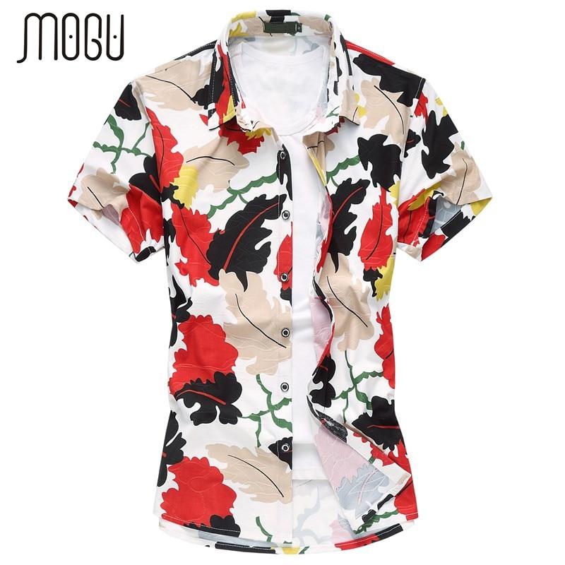 MOGU 남성용 대형 셔츠 남성용 짧은 셔츠 단추 2017 남성용 꽃 무늬 셔츠 남성용 여름용 비치 셔츠 크기 7XL