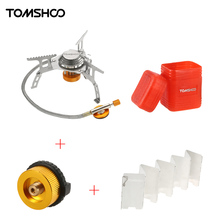 TOMSHOO Foldable Gas Stove Outdoor Camping Stove Burners + 9 Plate Wind Screen Windshield + Gas Cartridge Stove Adapter Cookware