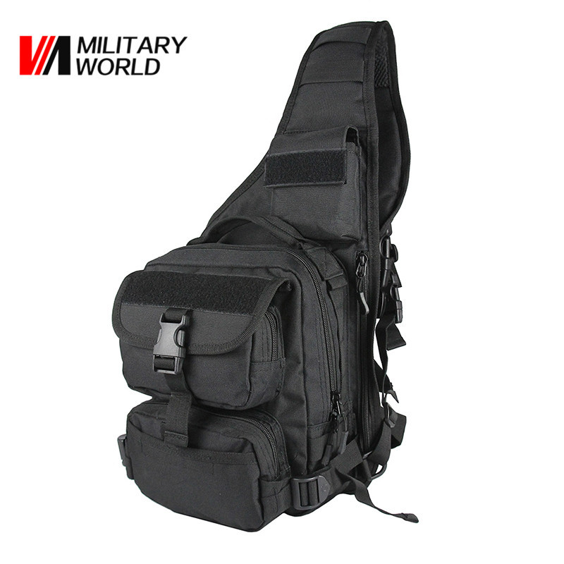 Men Outdoor Sport Hunting Shoulder Bags 900D Nylon Tactical Military Chest Pack Travel Camping Cycling Single Backpack Black