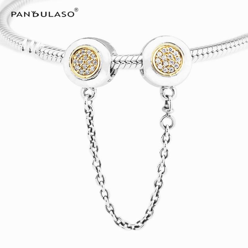 Pandulaso Signature Safety Chain Fit DIY Charms Bracelets Women Fashion Silver 925 Jewelry Crystal Chain Beads Jewelry Making