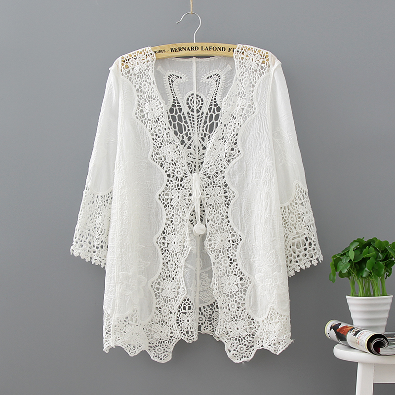 Hollow Out White Lace Blouse Kimono Summer 2019 Cotton Loose Woman Shirt Fashion Half Sleeve Kimono Cardigan Blouses Women 1806 3