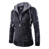Hot Sale Europe Style Spring Autumn Slim Fit Hooded Fake Two Piece Men S Motorcycle Leather