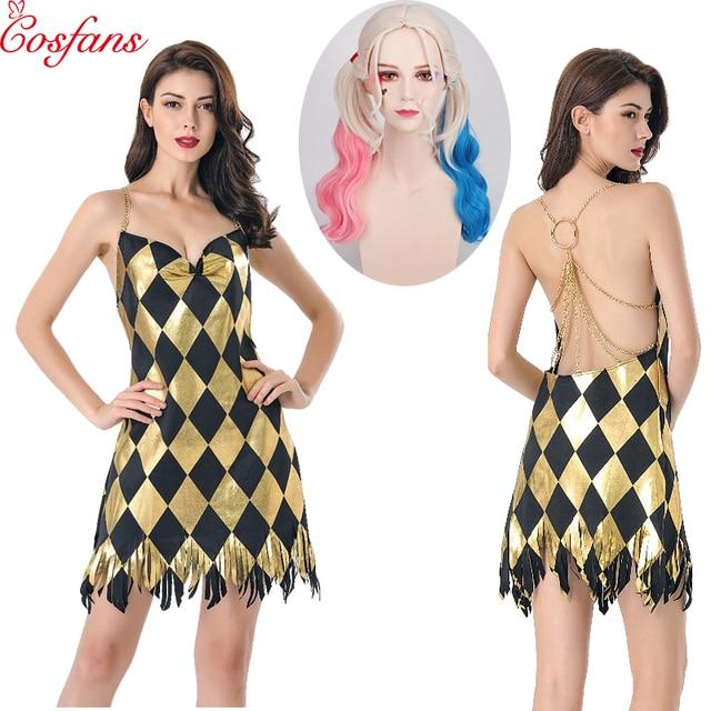 セクシーな衣装コスプレハーレークインドレス大人レディースガールズハロウィンカーニバルパーティー衣装ドレスとかつら