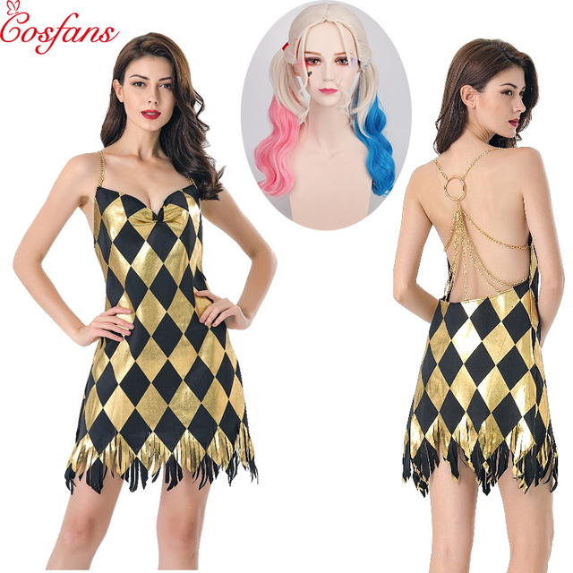 Déguisement Sexy Cosplay Harley Quinn robe adulte femmes filles Halloween carnaval fête Costume pour fille robe et perruque