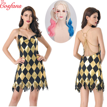 Sexy Suicide Squad Costume Cosplay Harley Quinn Dress Adult Womens Girls Halloween Carnival Party Costume for girl dress and wig