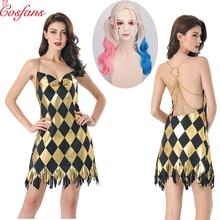 Traje sexy cosplay harley quinn vestido adulto das mulheres meninas halloween carnaval festa traje para a menina vestido e peruca