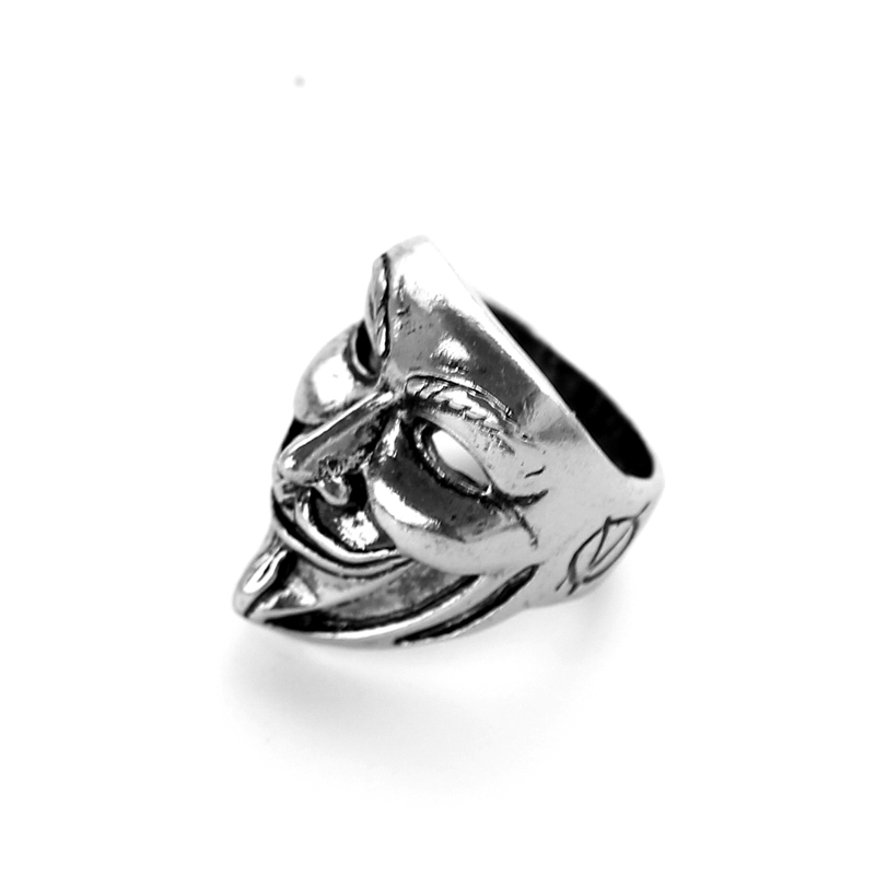 2017 Wholesale 20pc/lot New design Guy Fawkes Mask film style ring Antique silver V for vendetta trendy men cool mask jewelry