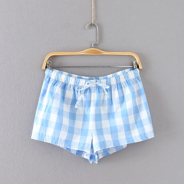c08b5279a286 Women Cute Summer Checked Print Cotton Pajama Shorts Women Loose Summer  Print Pajama Shots Sleepwear Bottoms