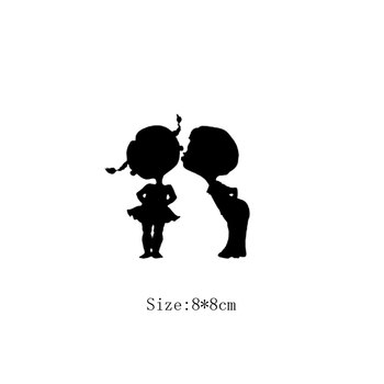 KUCADA Innocent playmates little girl and boy switch panel sticker for wall decoration wall sticker wallpaper diy black WP1456 image