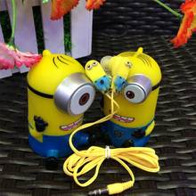 Cheapest Earphones 3.5mm Cute Headset Cartoon Despicable Me Minions In-ear Earbuds Earphone For Mp3 Mp4 Smartphone PC*