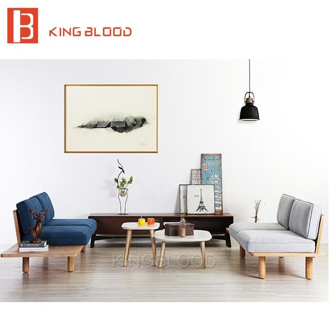 Corner Sofa Set Price In Coimbatore: 낮은 가격 현대 북유럽 패브릭 홈 로비 나무 소파 세트 디자인 공간 절약 아파트 일본 스타일-에서낮은