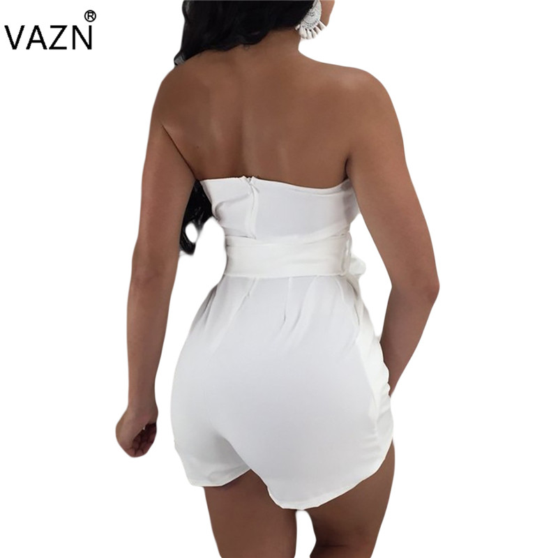 VAZN New Arrive Best Quality 2018 Bodycon Playsuit Sexy Strapless Club Wear Women Short Jumpsuit M723