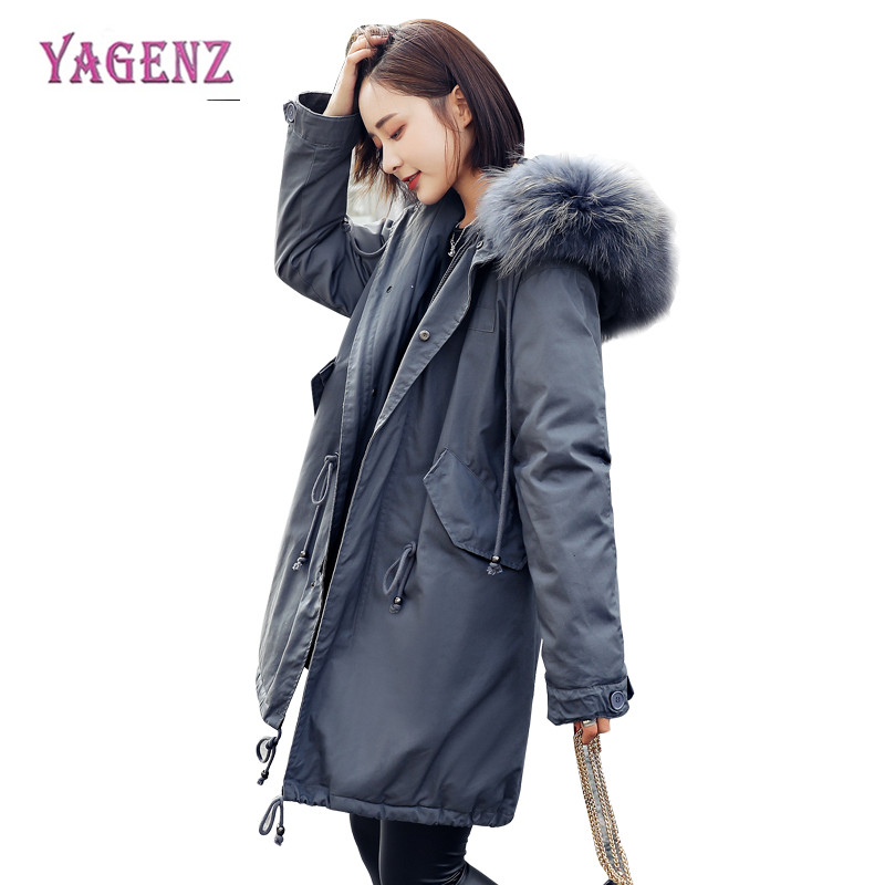 Winter Korean Womens Feather Cotton Coat 2018 High Quality Long Warm Ms Cotton Outerwear Hooded Fur Collar Cotton Overcoat B61