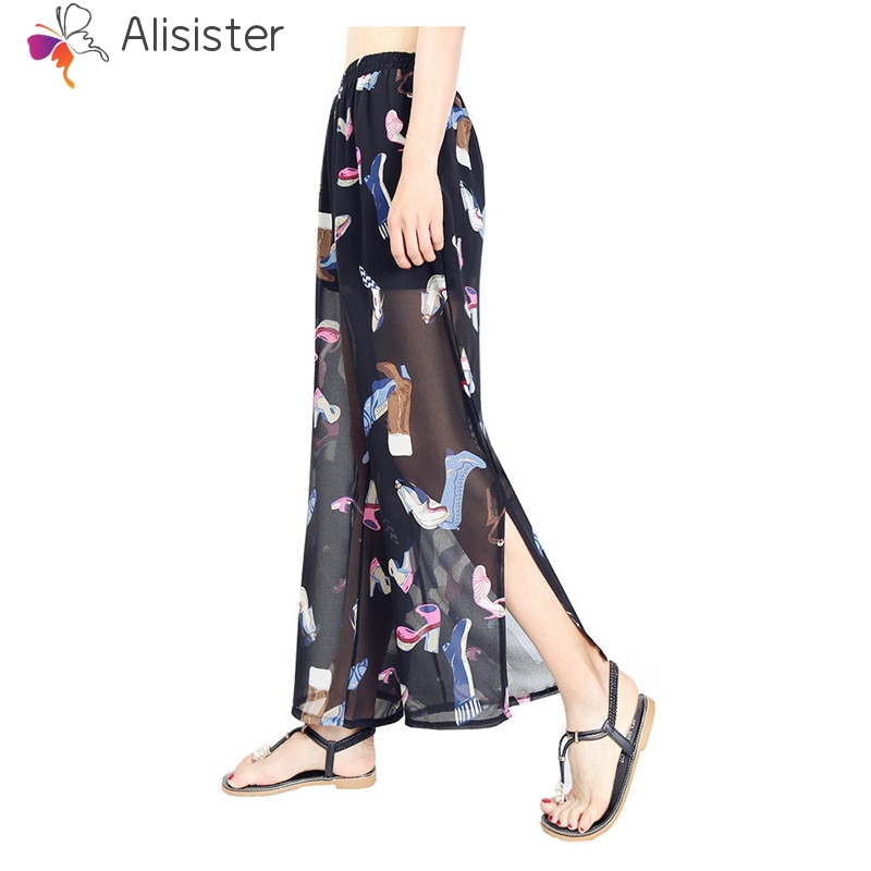 Creative High-heeled Shoes Print   Pants   Women Casual Chiffon Trousers Female High Waist Split   Wide     Leg     Pants   Plus Size