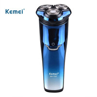 Kemei Electric Shaver Men Full Body Washable 3D Triple Floating Blade Heads Rechargeable Razor Professional Shaving