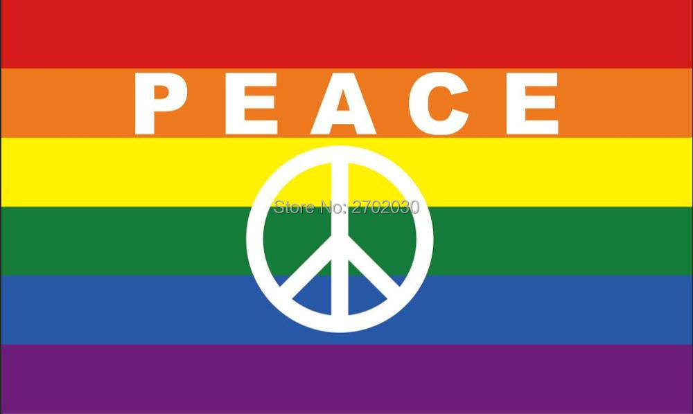 803c1bca4 Peace Symbol Letters Rainbow Gay Pride Flag 150X90CM 3X5FT Banner 100D  Polyester grommets Custom Free Shipping