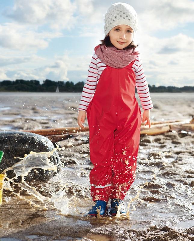 hot sale kids waterproof windproof PU rain snow coats pants boys girls children outdoor fishing ski camping suspender trousers