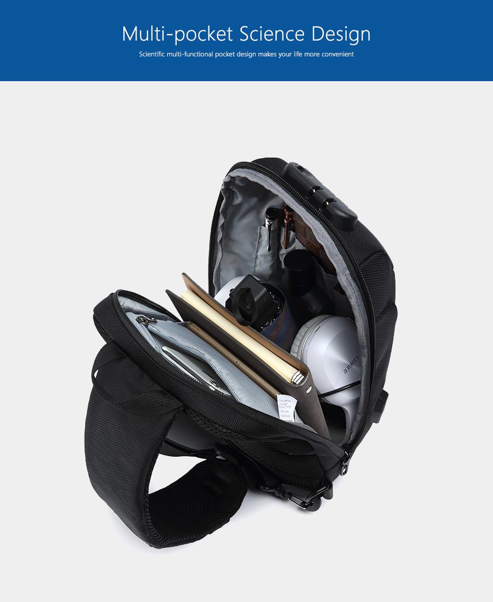 OZUKO 2019 New Multifunction Crossbody Bag for Men Anti-theft Shoulder Messenger Bags Male Waterproof Short Trip Chest Bag Pack 8