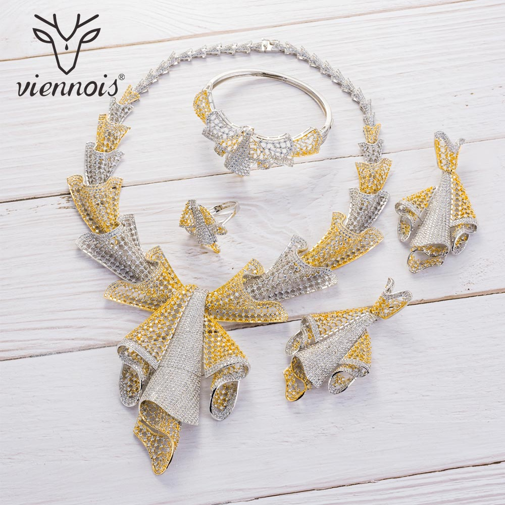 Viennois Gold Silver Mixed Color Necklace Set For Women Rhinestone Dangle Earrings Ring Bracelet Set Party