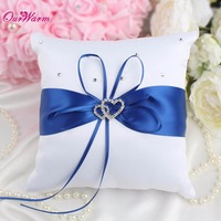 Many Color Double Heart Satin Ring Pillow With Rhinestone Diamond For Wedding Party Decoration