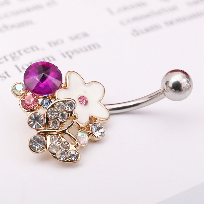 2018 Flower Belly Button Rings Jewelry Piercing Gold Color Enamel Body Piercings Body Jewellry