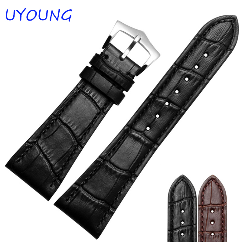 25mm High Quality Genuine Leather Watch Bands Strap Black Brown Silvery Buckle Watch Men Accessories 18mm 19mm 20mm 21mm 22mm available new high quality black or brown genuine leather watch bands straps free shipping