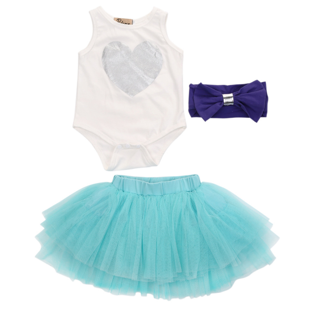 Newborn Infant Baby Girls Clothes Sleeveless Heart Bodysuit Romper + Tutu Skirt + Headband 3pcs Summer Toddler Girl Clothing