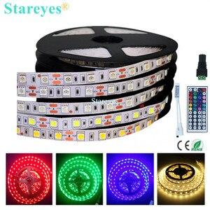 1 шт. SMD 5050 60 светодиодный/м RGB светодиодный светильник 5 м 300 светодиодный 12 В постоянного тока, не водонепроницаемый светильник, лента, Светод...