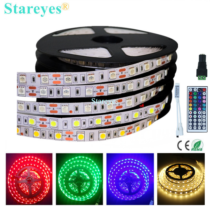 1 Piece SMD 5050 <font><b>60</b></font> LED / M RGB LED Strip 5M 300 LED DC12V Non Waterproof flashlight Strip tape string Ribbon LED Light lighting image
