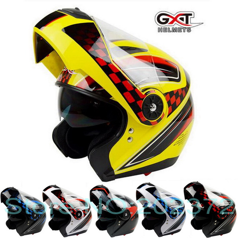 2017 New GXT Flip Up motorcycle helmet anti-fog double lens flip up motorbike helmets undrape face moto racing helmet ABS
