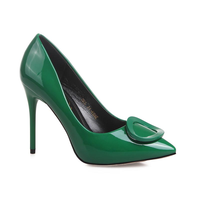 ФОТО 2017 Pure color green buckle Sexy High Heels Brand Women Pumps Ladies Shoes Woman Chaussure Femme Zapatos Mujer sapato feminino