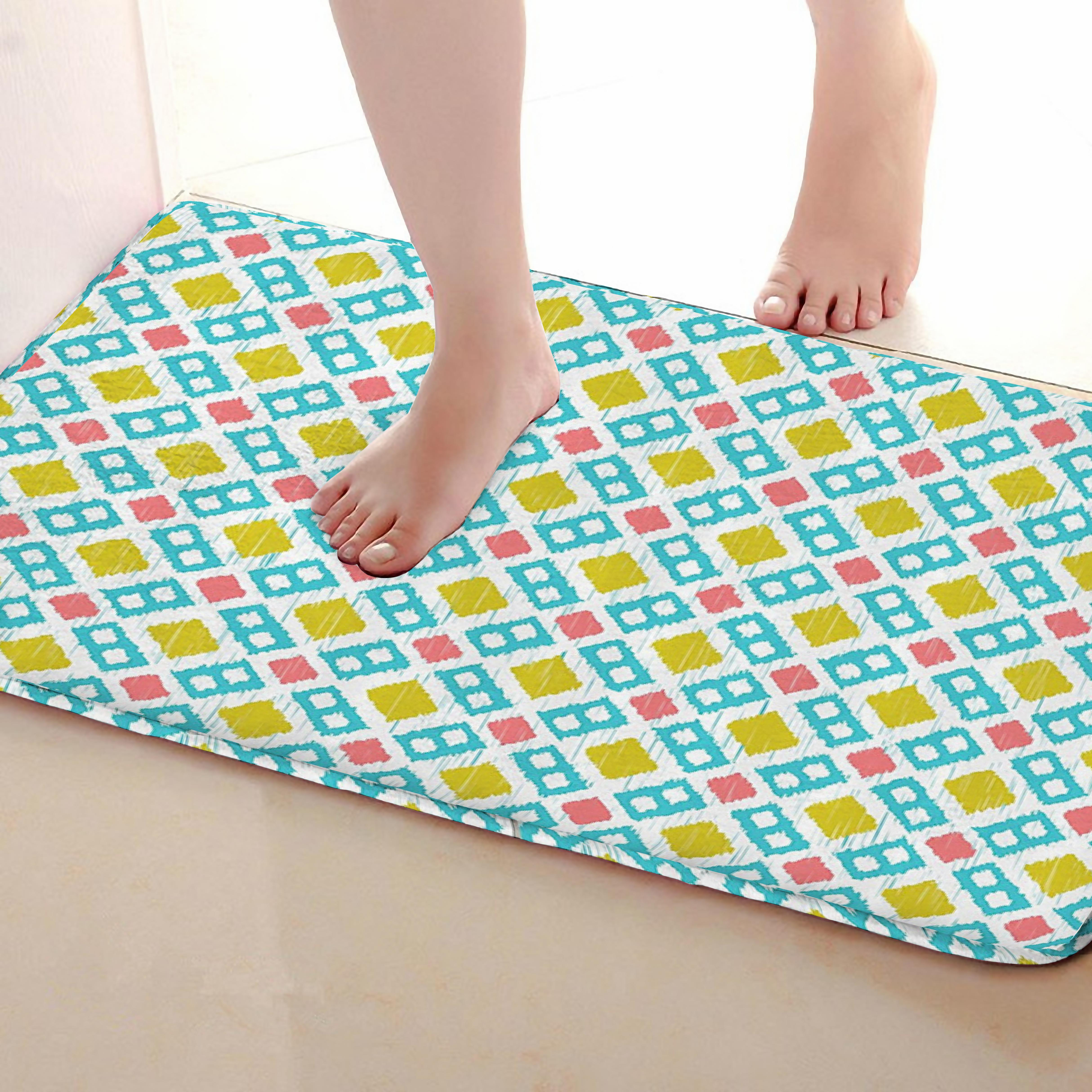 Square Style Bathroom Mat,Funny Anti skid Bath Mat,Shower Curtains Accessories,Matching Your Shower Curtain