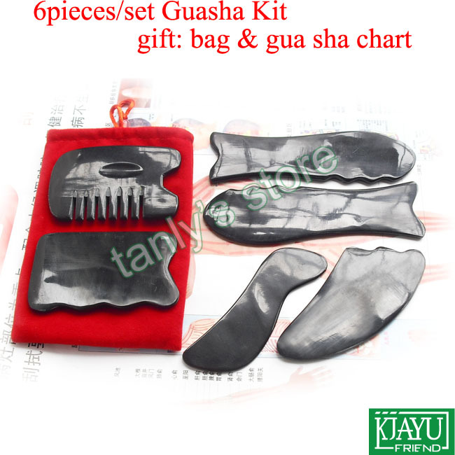 6pcs/set high quality Traditional Acupuncture Massage tool Gua sha kit 100% ox Horn gift beauty box & guasha chart недорого