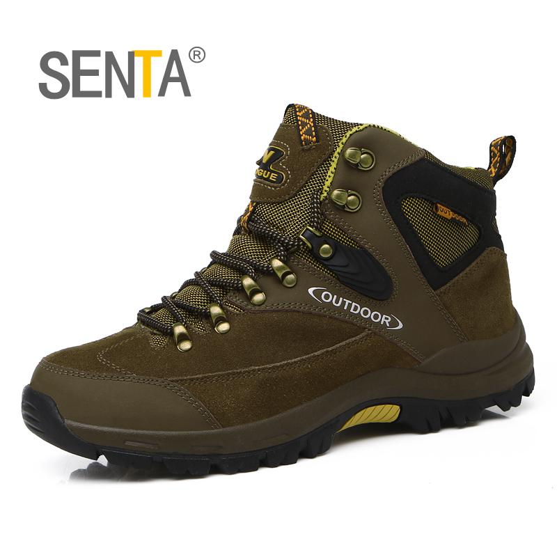 SENTA Genuine Leather Men Hiking Shoes Warm Snow Boots Outdoor Sport Shoes Climbing Sneakers Zapatillas Comfortable Boots цена