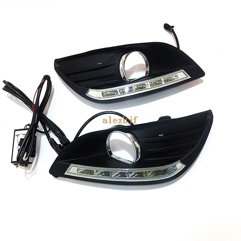 ФОТО July King LED Daytime Running Lights DRL With Fog Lamp Cover, LED Fog Lamp case for Ford Focus 2007~2014 1:1 Replacement